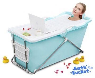Bath Bucket 2.0 Blauw - Opvouwbaar voor Volwassenen - Zitbad ligbad voor thuis - ZitBadXL.nl