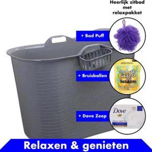 Bath Bucket Grijs Zitbad – Mobiel Bad Voor Volwassenen – Bad Bucket 200 liter - www.ZitBadXL.nl