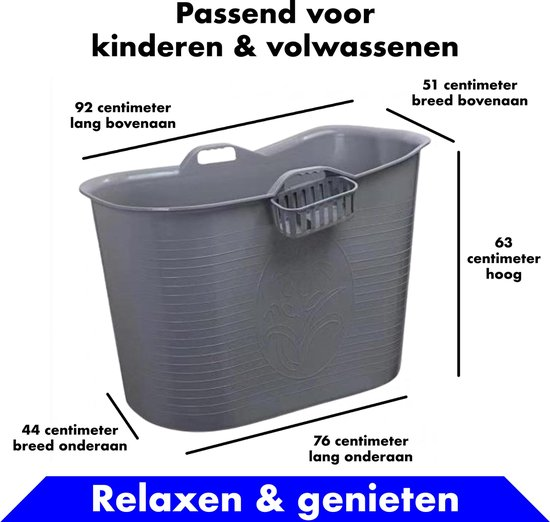 Bath Bucket Grijs Zitbad – Mobiel Bad Voor Volwassenen en kinderen – Bad Bucket - www.ZitBadXL.nl