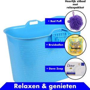 Bath Bucket blauw Zitbad – Mobiel Bad Voor Volwassenen – Bad Bucket 200 liter - www.ZitBadXL