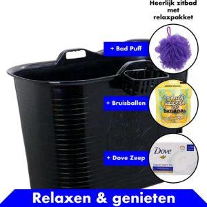 Bath Bucket Zwart Zitbad – Mobiel Bad Voor Volwassenen – Bad Bucket 200 liter - www.ZitBadXL.nl