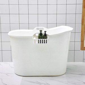 EKEO - Plastic Zitbad Volwassenen Bath Bucket - Wit – Zitbad vrijstaand Voor Volwassenen – Opvouwbaar badkuip - www.ZitBadXL.nl