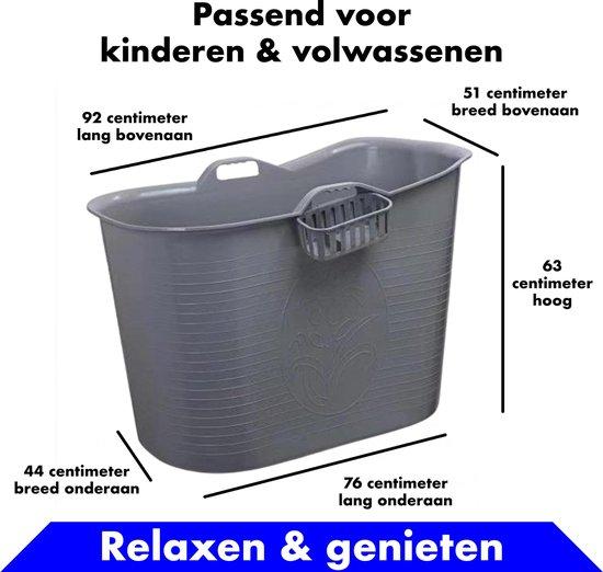 EKEO - Plastic Zitbad Volwassenen - Bath Bucket - Zilver – Zitbad vrijstaand Voor Volwassenen – Opvouwbaar badkuip - www.ZitBadXL