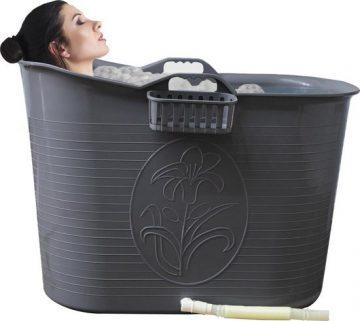 EKEO - Zitbad Voor Volwassenen - Bath Bucket - Zilver – Zitbad vrijstaand Voor Volwassenen – Opvouwbaar badkuip - www.ZitBadXL
