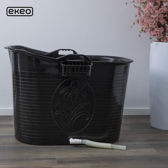 EKEO - Zitbad Voor Volwassenen Bath Bucket - Zwart – Zitbad vrijstaand Voor Volwassenen – Opvouwbaar badkuip - www.ZitBadXL.nl