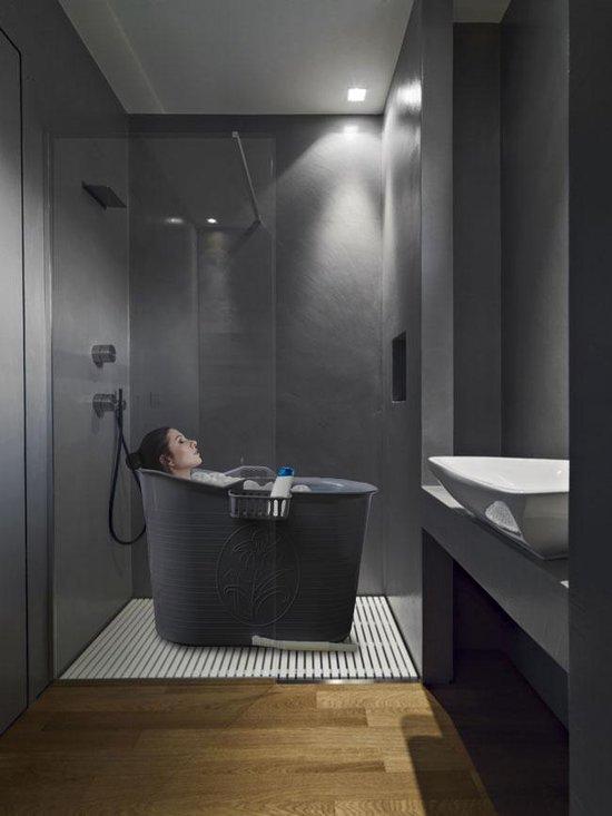 EKEO - Zitbad XL Voor Volwassenen Bath Bucket - Grijs – Zitbad vrijstaand Voor Volwassenen – Opvouwbaar badkuip - www.ZitBadXL