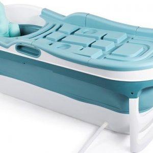 HelloBath Opvouwbaar bad XXL 148cm blauw - Bath Bucket 2.0 - plastic badkuip - Inklapbaar bad - Zitbad voor Volwassenen - ZitBadXL.nl