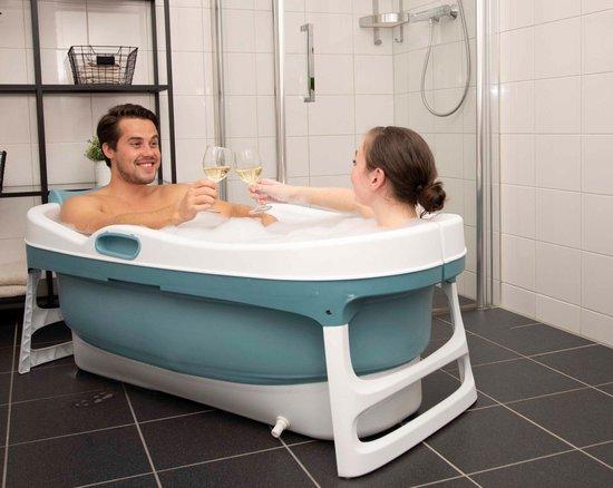 HelloBath Opvouwbaar bad XXL - 148cm blauw - Bath Bucket 2.0 - plastic badkuip - Inklapbaar bad - Zitbad voor Volwassenen - ZitBadXL.nl