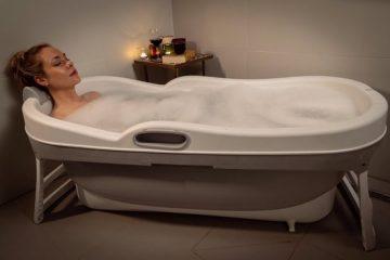 HelloBath Opvouwbaar bad XXL - 148cm roze - Bath Bucket 2.0 - plastic badkuip - Inklapbaar bad - Zitbad voor Volwassenen - ZitBadXL.nl