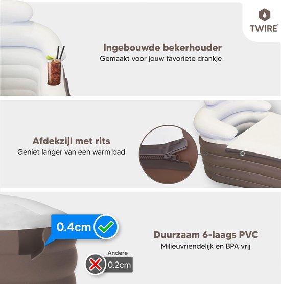 Twire Premium - Opblaas LigBad XL opblaasbaar - Zitbad Voor Volwassenen- bekerhouder - ZitBadXL