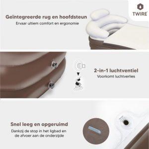 Twire Premium - Opblaas LigBad XL opblaasbaar - Zitbad Voor Volwassenen - geintergreerde rug en hoofdsteun - ZitBadXL