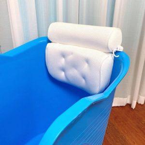 FlinQ Zitbad met hoofdkussen en nek kussen - zitbad voor volwassenen - bath Bucket blauw - www.ZitBadXL.nl