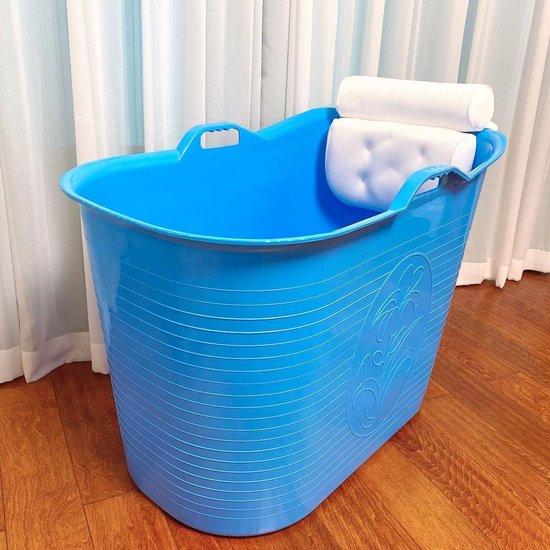 FlinQ Zitbad met hoofdkussen - zitbad voor volwassenen - bath Bucket blauw- www.ZitBadXL.nl
