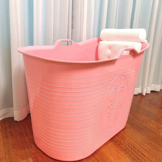 FlinQ Zitbad met nek hoofdkussen - zitbad voor volwassenen - bath Bucket roze - www.ZitBadXL.nl