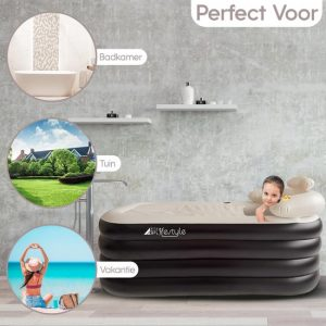 Opblaasbaar Ligbad Voor Volwassenen - Zitbad Voor Volwassenen - HBKS Lifestyle zwart - ZitBadXL.nl