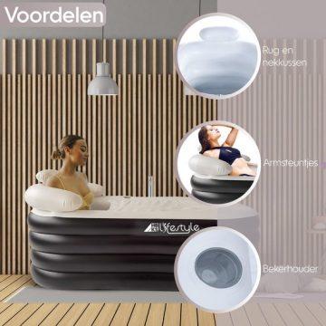 Opblaasbaar Ligbad Voor Volwassenen - Zitbad Voor Volwassenen zwart - Hoofdsteun - ZitBadXL.nl