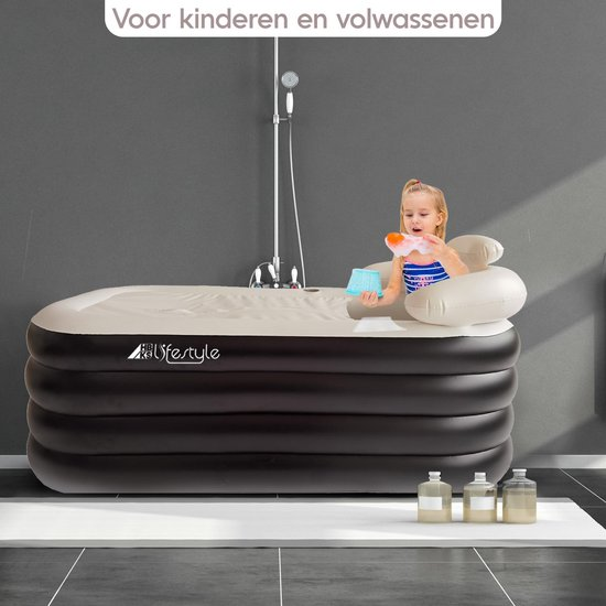 Opblaasbaar Ligbad Voor Volwassenen - Zitbad Voor Volwassenen zwart - ook voor kinderen - ZitBadXL.nl