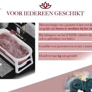 Emzie Opvouwbaar bad XL 133cm Roze - Bath bucket voor de hele familie – Ligbad – Opvouwbaar bad voor in douche - www.ZitBadXL.nl