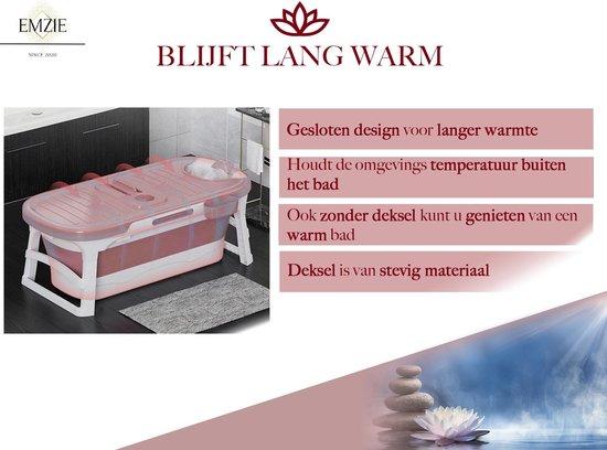 Emzie Opvouwbaar bad XL 133cm Roze - Bath bucket voor volwassenen – Ligbad extra lang warm water - www.ZitBadXL.nl