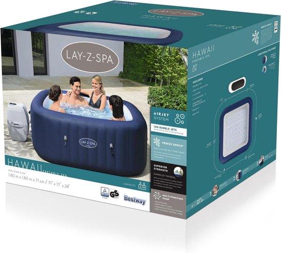 Bestway Lay-Z Spa Hawai - opblaasbare jacuzzi 4-6 personen - compacte doos - www.ZitBadXL.nl