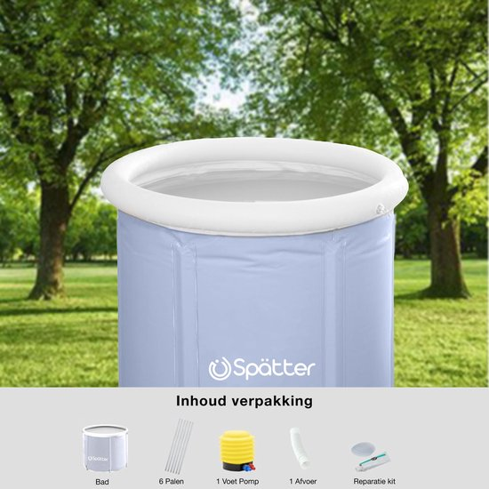 Spätter portable Zitbad - ZitBad voor Volwassenen - opvouwbaar Bathtub, Tubble grijs - Binnen en Buiten - www.ZitBadXL.nl