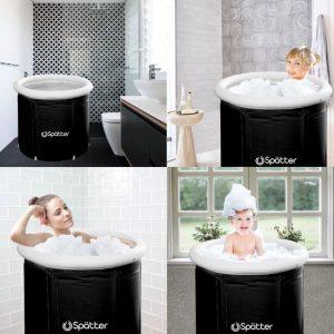 Spätter portable Zitbad - ZitBad voor Volwassenen - opvouwbaar Bathtub, Tubble zwart - Bath Bucket - www.ZitBadXL.nl