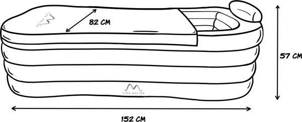 Opblaasbaar ligbad Flow Motion voor 1 persoon - afmetingen - www.ZitBadXL.nl